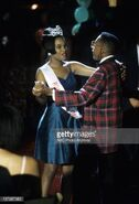 Laura and urkel dance to the music