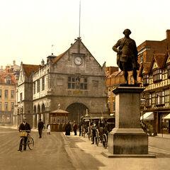 Shakespeare Square in 1910; all still remain