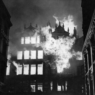 Bomb damage on Grosvenor Street (though the buildings in the foreground are of Fletcher Row). The building pictured is the Royal Arts building, hit by an incendiary bomb on March 28, 1942. It collapsed due to extreme structural damage, being replaced with a Co-Op building in 1964, becoming the first and only modern building on the historic Grosvenor Street.