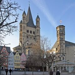 St. Arthur's Tower in Stonebrook, a 90 ft high church spire built in 1881. It was built by an unknown Dutch architect along with the Frankfurt-style buildings directly below. It miraculously survived the war, but the building on the right didn't, being reduced to a spire.