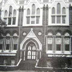 The Fishmarket Institute in 1944, which survived due to the assiduous and courageous efforts of local firemen. Its greatest extent of damage sustained was to its roof and chimney, both of which fell through—other than such, the building was unscathed. It stands opposite the previous photo.