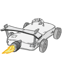 Mattress with Wheels Spoiler and Rocket Booster