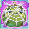 Apple grumpy under cobweb on slime