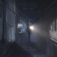 Image of Ruka exploring Rougetsu Hall.