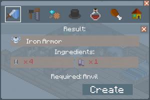 Iron Armor - Creation Screen