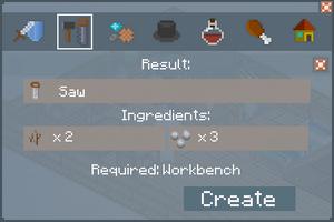 Saw - Crafting Screen