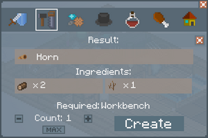Horn - Crafting Screen