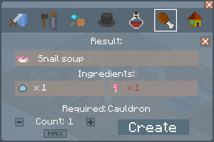 Snail Soup- Crafting Screen