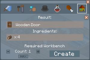 Wooden Door - Crafting Screen