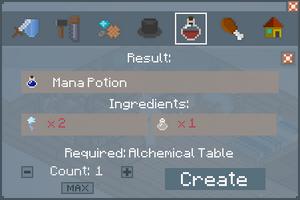 Mana Potion - Crafting Screen