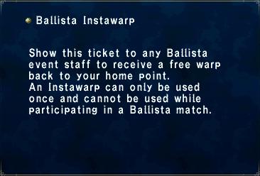 Key item ballista instawarp