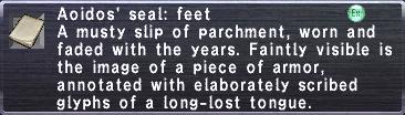 Aoidos' seal feet