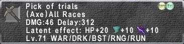 Pick of Trials description