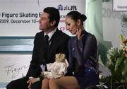 Miki Ando with Nikolai Morozov kiss & cry 2008-2009 GPF