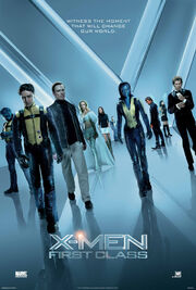 """The X-Men and the Hellfire Club walk towards the viewer. From left to right, they are Beast, Professor X, Magneto, Emma Frost, Moira McTaggert, Havok, Mystique, Azazel Salvadore, Angel and Sebastian Shaw. The background and its reflection on the floor form an """"X""""."""