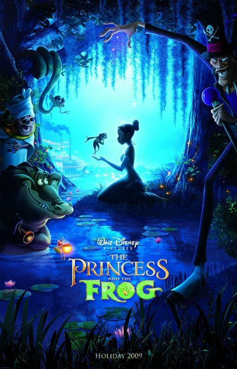 Cartoon image of a woman kneeling in the Louisiana bayou in a princess costume with a talking frog in her hand, as a voodoo priestess, a witchdoctor, and an alligator look on.