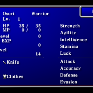 Status menu in the PSP version.
