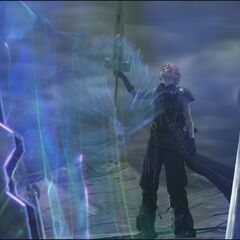 Cloud finishes Omnislash Version 5 in <i>Final Fantasy VII: Advent Children Complete</i>.