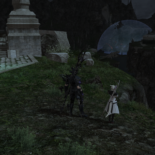 The Warrior of Light and Y'sthola observe Alexander from Idyllshire shortly after summoning.