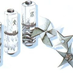 Various scrolls with shurikens in <i><a href=