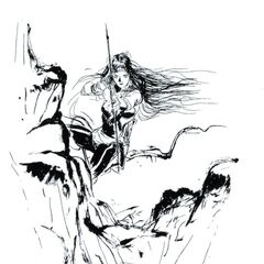 Amano artwork of Maria from the <i>Final Fantasy II Muma no Meikyū</i>.