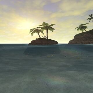 A view of Luminous Isle from the shore.