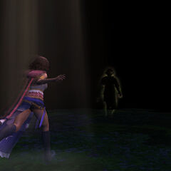Tidus's spirit leads Yuna out of the Farplane.