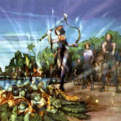 Early concept art for <i>Final Fantasy X</i> depicting the sending.