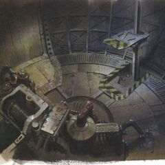 Concept art of the bottom of the elevator.