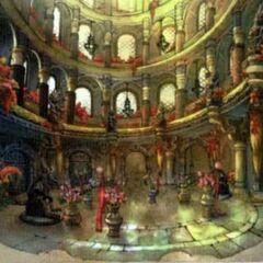 Artwork of Baaj Temple's interior.