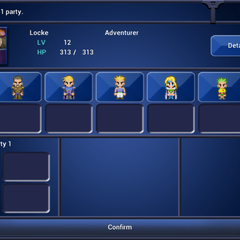 <i>Final Fantasy VI</i> party selection screen (iOS/Android).