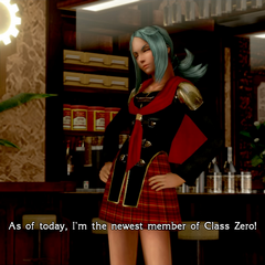 Carla in-game in her Class Zero uniform.
