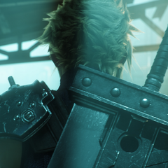 Cloud in a advertisement for the upcoming <i>Final Fantasy VII</i> remake.
