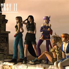 The first six members of the cast—From left to right: Hitomi, Tifa, Ayane, Rikku, Kasumi and Yuna.