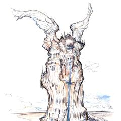 Artwork of Alexander from <i>Final Fantasy IX</i> by Yoshitaka Amano.