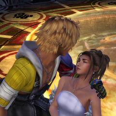 Tidus and Yuna in Bevelle Temple.