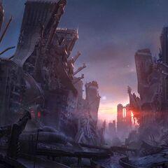 Concept art depicting ruins.