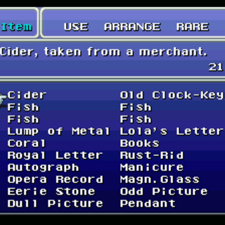 The Key Item menu (SNES).
