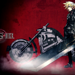 Promotional artwork of Cloud for <i>Final Fantasy VII G-Bike</i>.