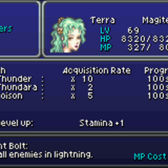 The Espers Learning Spells menu (GBA).