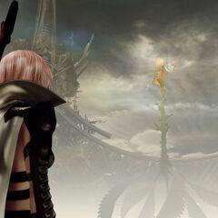 Lightning looks at Yggdrasil.
