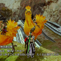 Villagers riding chocobos in <i>Lightning Returns</i>.