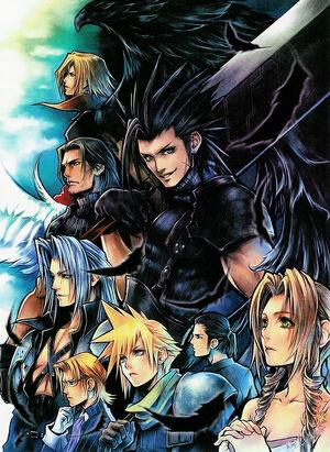 De haut en bas et de gauche à droite: Génésis, Angeal, Zack, Séphiroth, Lazard, Cloud, Tseng et Aerith.