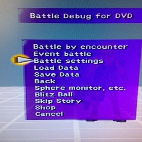 Part of the <i>Final Fantasy X</i> debug menu.