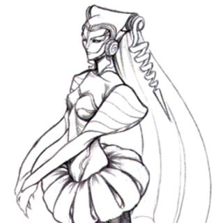 Concept art of the first Sorceress.