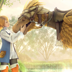 Refia and a chocobo in the opening FMV (PC).