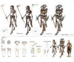 Ilustracja koncepcyjna do Final Fantasy XII, przedstawiająca szkieleta.