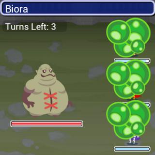 Biora in battle.