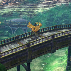 Tidus riding a chocobo on the Highroad.