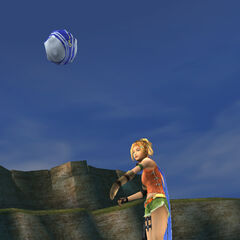 Rikku throwing the blitzball for Tidus.